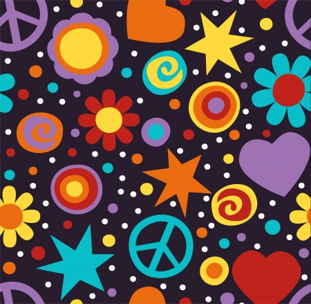 peace design: Colorful hippie seamless pattern with peace signs, hearts and flowers