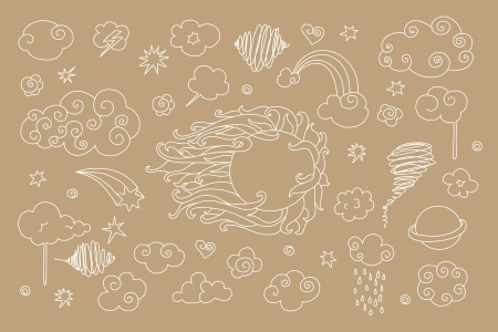 Cute sky doodle with clouds, stars, planets, sun. Vector
