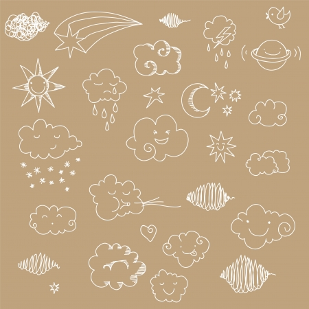Cute sky doodle with clouds, sun, moon, stars, planet. Vector