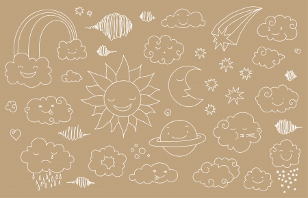 Cute sky doodle with clouds, sun, moon, planet, rainbow. Vector