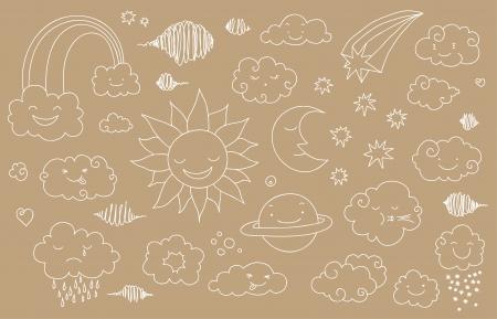 zon en maan: Leuke hemel doodle met wolken, zon, maan, planeet, regenboog.