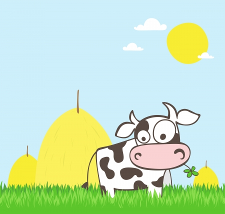 vaca caricatura: Vaca de la historieta en un campo verde con heno apilado en el fondo