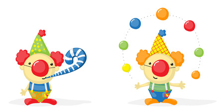 clown nose: two cartoon clowns, one of them juggling with balls