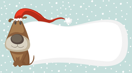 Cartoon dog with Santa hat and space for your Christmas text. Vector