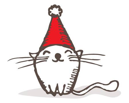 Cute hand drawn cat with Santa hat Vector
