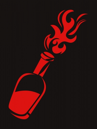 Stylized molotov cocktail, can be used as a stencil. Vector