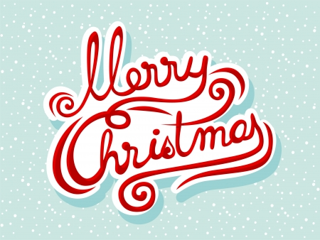 Hand drawn Merry Christmas lettering on a snowy background Vector