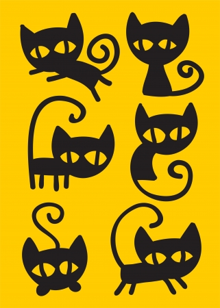 black cat silhouette: Collection of cute black cartoon cats in various positions.