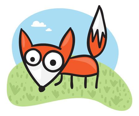 Cute cartoon fox on a green field