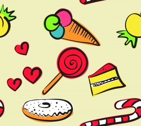 Seamless pattern with doodle sweets Vector