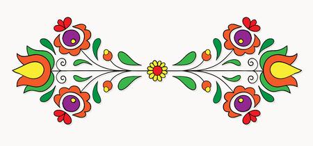 Symmetrical motif inspired by Hungarian folk art.