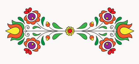hungarian: Symmetrical motif inspired by Hungarian folk art.