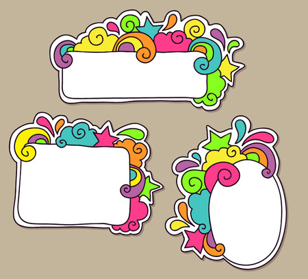 Funky Colorful Doodle Frames Royalty Free Cliparts Vectors And