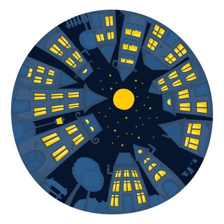 round window: Round cartoon street at night. Illustration