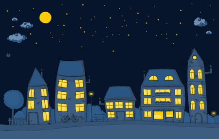 Cute cartoon street at  night Vector