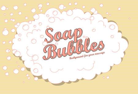 burbujas de jabon: Fondo de la burbuja de jabón retro con el espacio