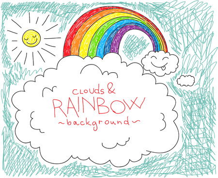 crayon drawing: Cute childish background with clouds and rainbow, with space for your text