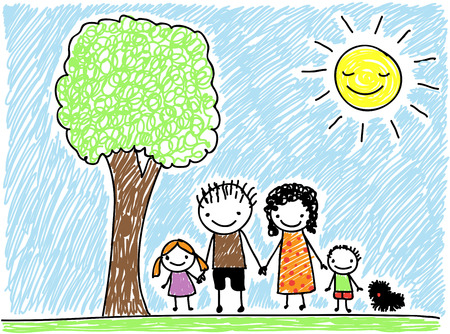 eltern und kind: Kinderzeichenstil Familie mit Hund Illustration