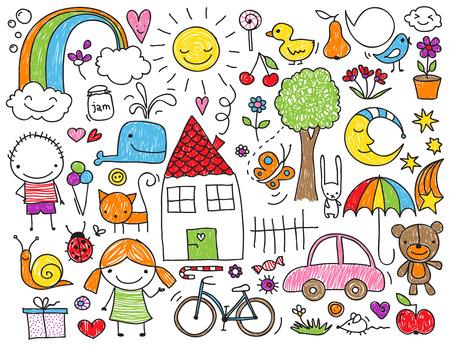 Sammlung von niedlichen Kinderzeichnungen von Kindern, Tieren, Natur, Objekte Illustration