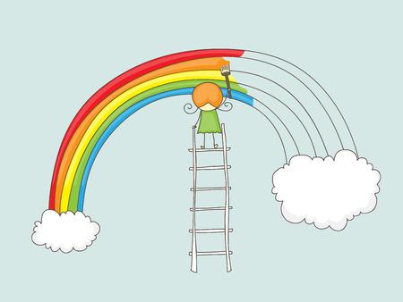 arcoiris caricatura: Linda doodle de una chica que pinta un arco iris entre dos nubes en una escalera