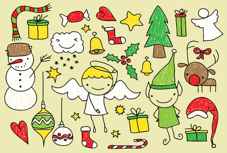 crayon drawing: Childish doodle of Christmas related elements Illustration