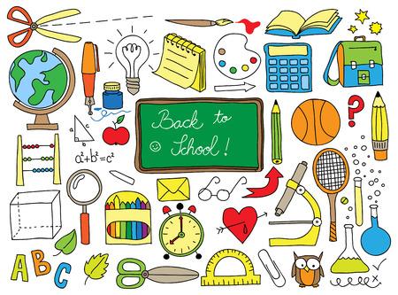 Retour à doodle set scolaire Banque d'images - 29544907