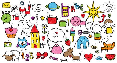 Raccolta di disegni svegli dei bambini di bambini, gli animali, la natura, gli oggetti Archivio Fotografico - 31358900