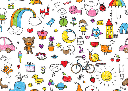kid's drawing style seamless pattern of random kid's drawing style elements