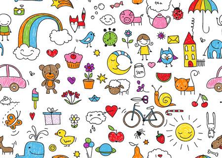 kid's tekenstijl naadloze patroon van willekeurig kid's tekenstijl elementen