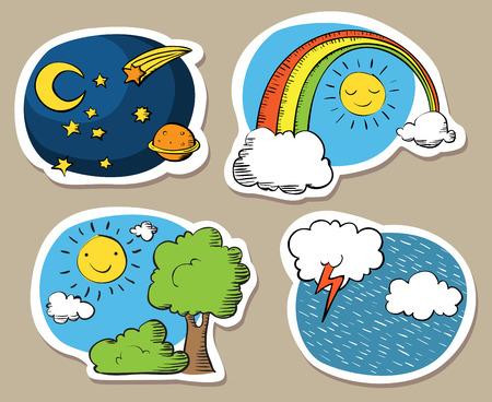 arcoiris caricatura: Conjunto de cielos lindos de la historieta, con el sol, el arco iris, la lluvia y el cielo nocturno.