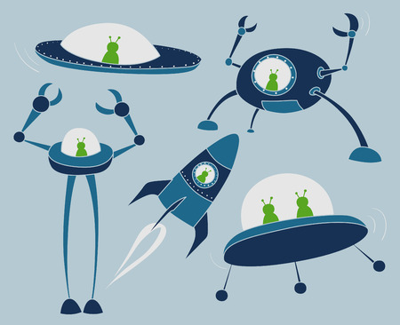 cartoon alien: Cartoon outer space vehicles with green aliens inside.
