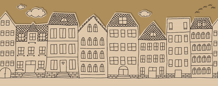 cardboard cutout doodle houses, horizontal seamless pattern Vector