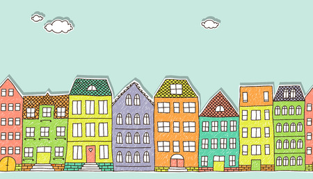 colorful cutout doodle houses, horizontal seamless pattern Vector