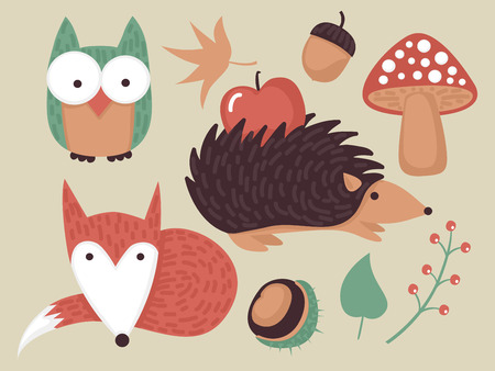 Cute autumn forest set with animals and plants Vector
