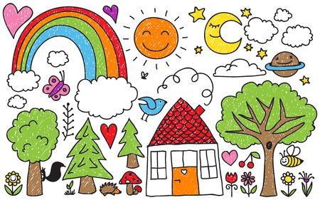 arcoiris caricatura: Colección de dibujos de animales, plantas y elementos celestes de los niños lindos