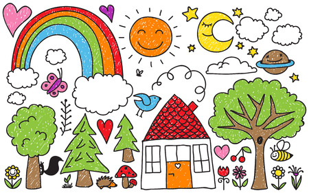 Het verzamelen van schattige kinderen 'tekeningen van dieren, planten en hemelse elementen Stockfoto - 33677282