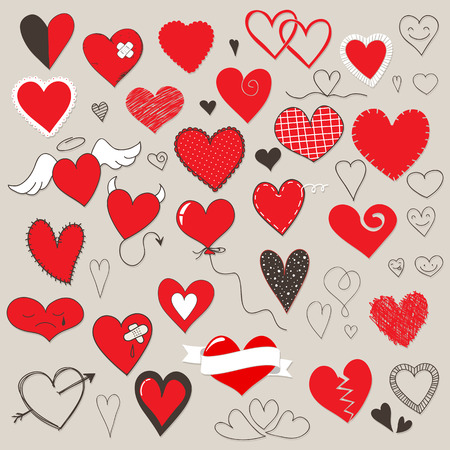 Collection Of Different Heart Symbols Doodle Royalty Free Cliparts