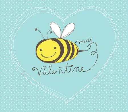 abeja caricatura: Tarjeta linda a mano D�a de San Valent�n con la abeja de dibujos animados