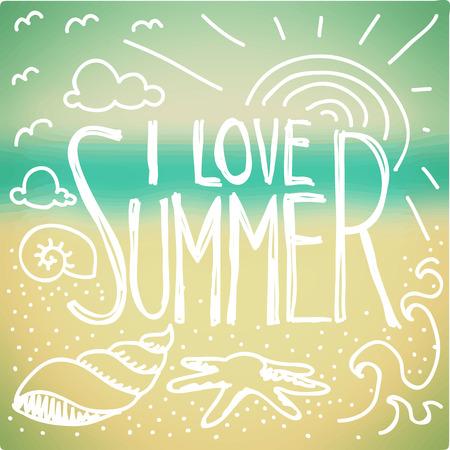 verano: Me encanta la cita de verano y dibujo sobre fondo borrosa junto al mar