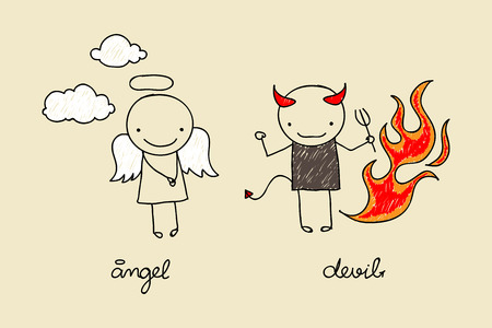 Childish drawing of cute devil and angel with flames and clouds