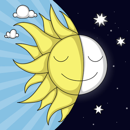 Cute day and night illustration with smiling Sun and Moon Ilustração