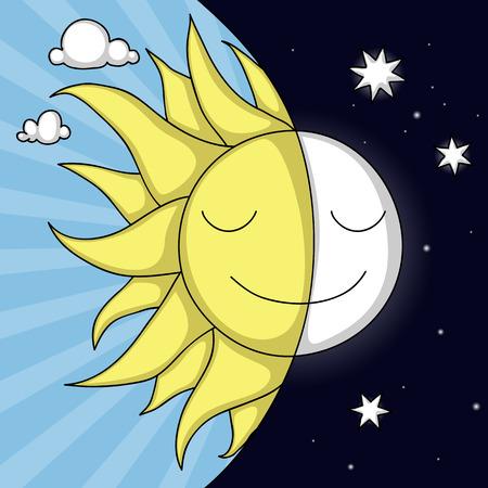 dia y noche: Lindo día y noche la ilustración con la sonrisa Sol y la Luna Vectores