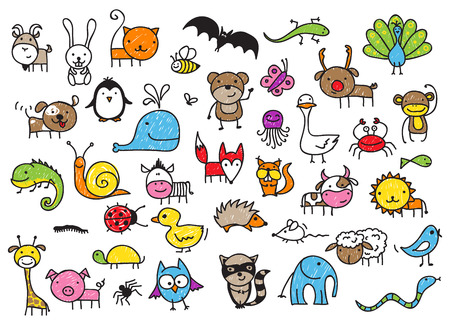 crayon: animals doodle Illustration