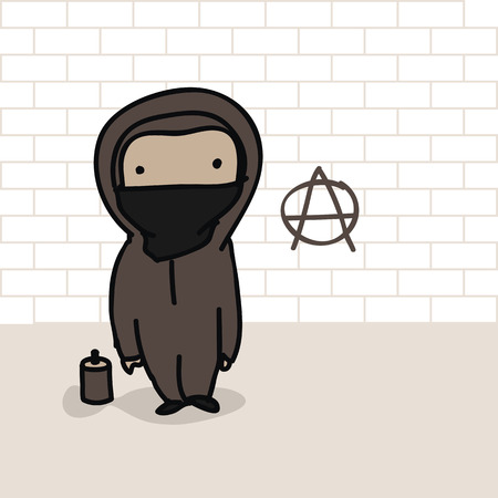 anarchism: Cartoon of an anarchist and a can of spray in front of brick wall with anarchy sign Illustration