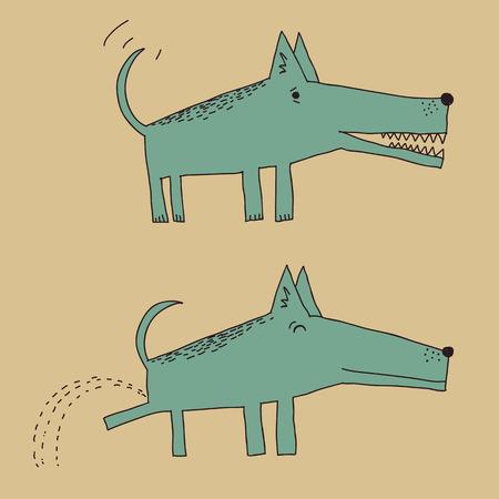 urinare: Cane del fumetto in due posizioni diverse, pip� in uno di essi Vettoriali