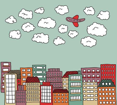 avion caricatura: Doodle de una ciudad con nubes y un avi�n por encima de