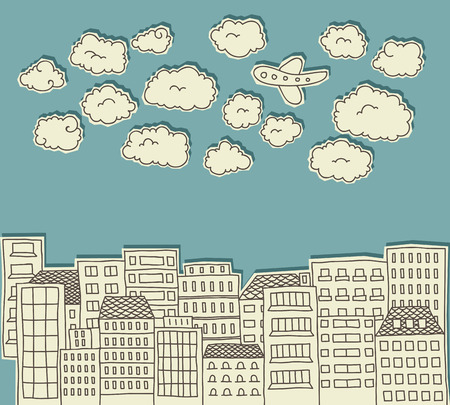 paper cutout: paper cutout doodle of a city with clouds and an airplane above