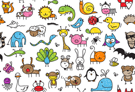 crayon: Seamless pattern of doodle animals, childrens drawing style Illustration