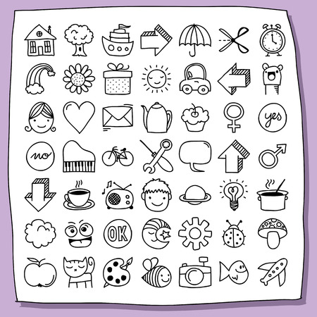 lightbulbs: Collection of almost fifty cute doodle icons, mostly for kids