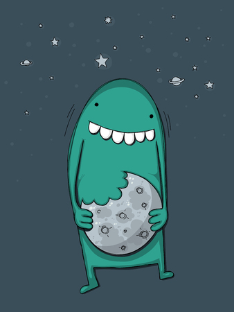 skie: Cute cartoon monster mistaking the moon for a cookie